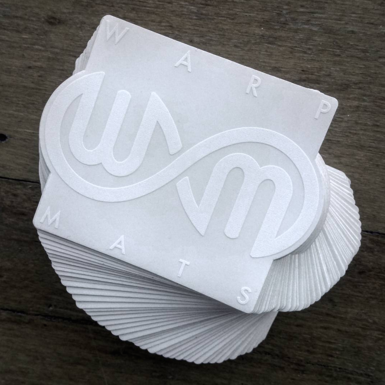 Warpmats stickers - white on clear vinyl, waterproof